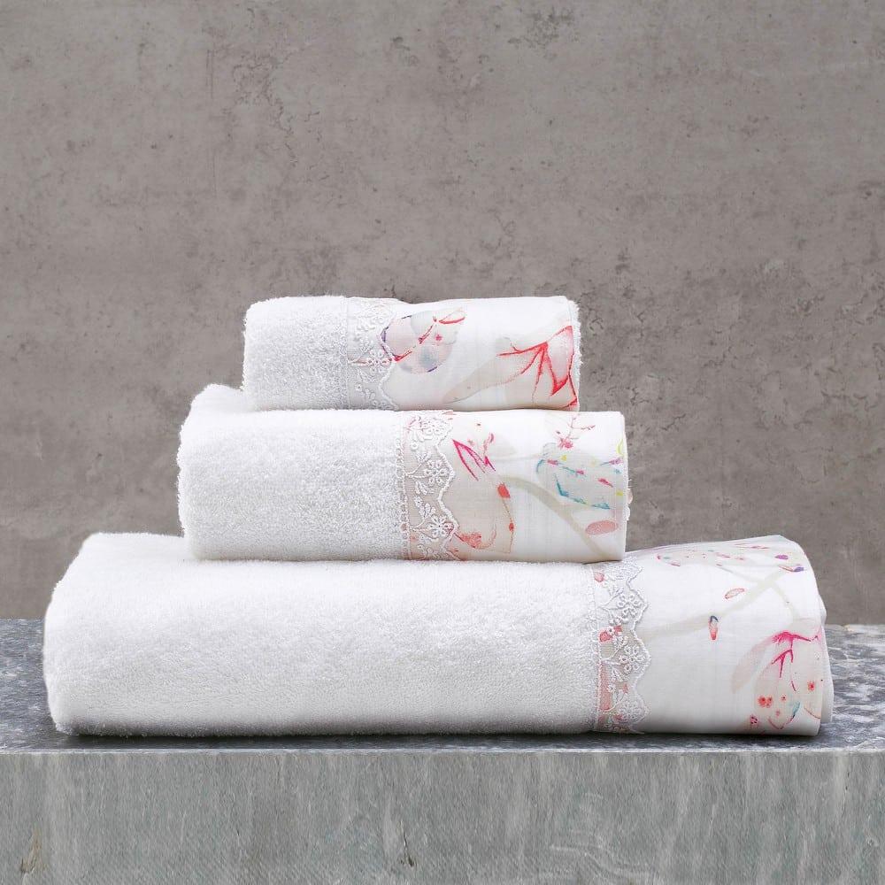 Πετσέτες Mangolia Σετ 3τμχ White-Pink Ρυθμός Σετ Πετσέτες