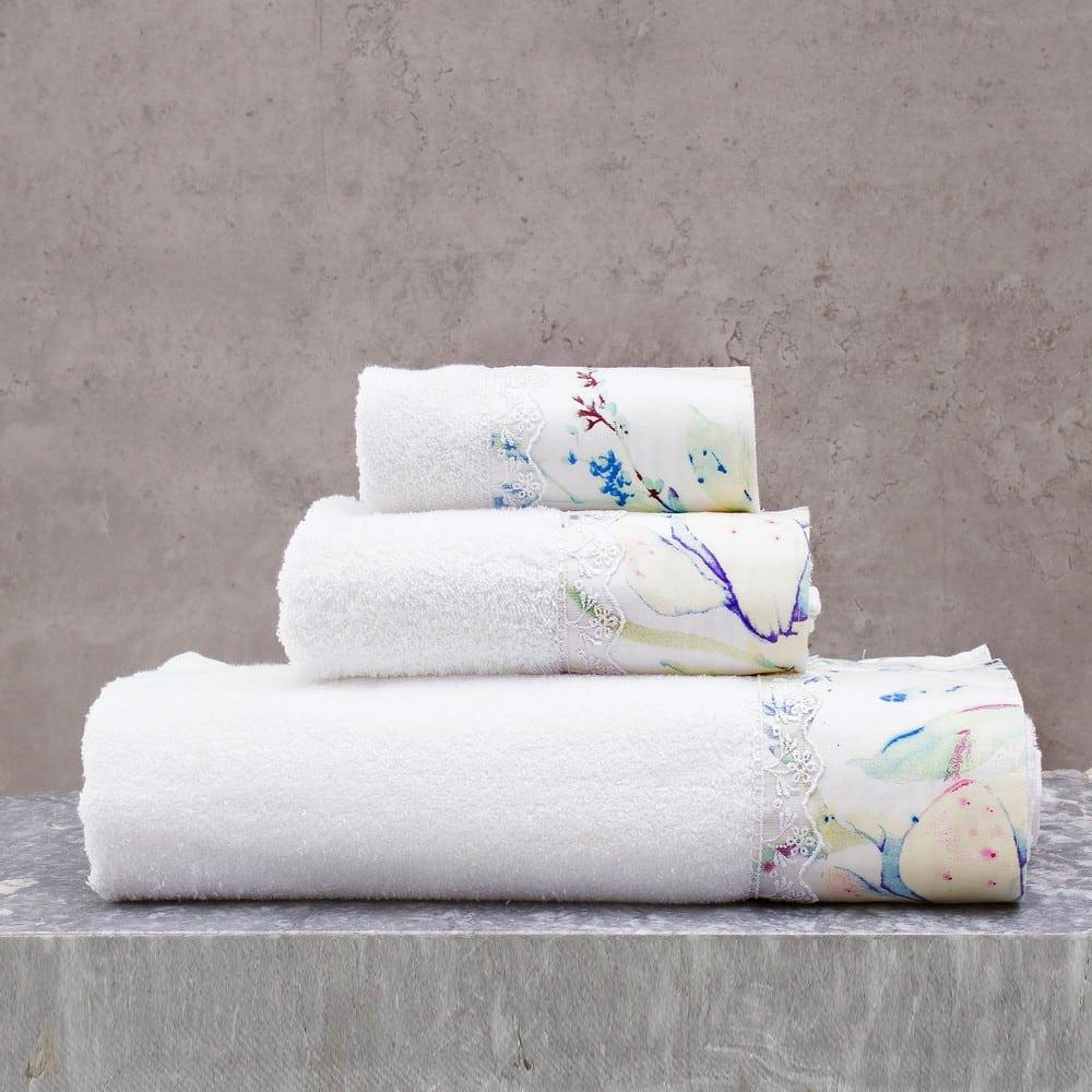 Πετσέτες Mangolia Σετ 3τμχ Σε Κουτί White-Lime Ρυθμός Σετ Πετσέτες