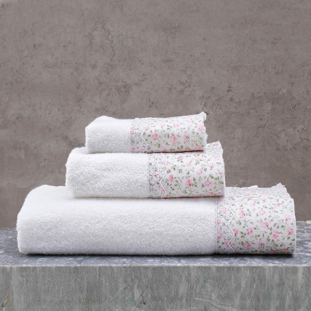 Πετσέτες Misty Σετ 3τμχ White-Pink Ρυθμός Σετ Πετσέτες