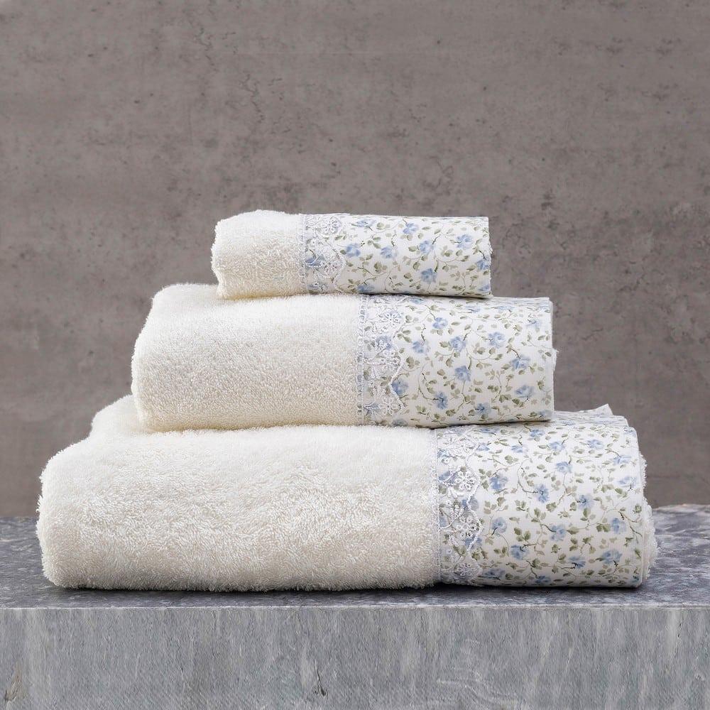 Πετσέτες Misty Σετ 3τμχ Σε Κουτί Ecru-Ciel Ρυθμός Σετ Πετσέτες