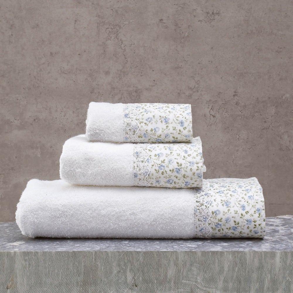 Πετσέτες Misty Σετ 3τμχ Σε Κουτί White-Ciel Ρυθμός Σετ Πετσέτες