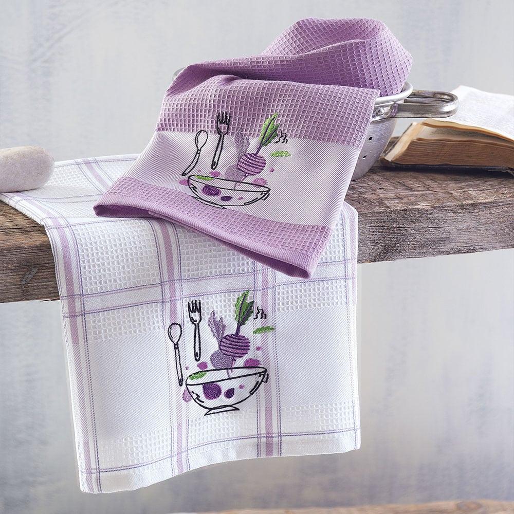 Πετσέτες Κουζίνας Πικέ Bowl Σετ 2τμχ Purple Ρυθμός