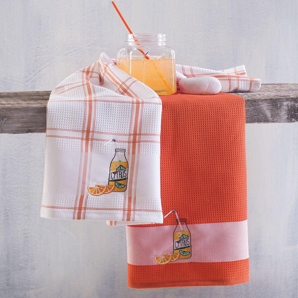 Πετσέτες Κουζίνας Πικέ Citrus Σετ 2τμχ Orange Ρυθμός