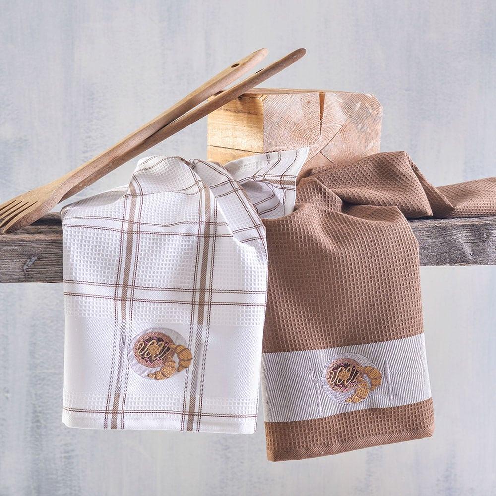 Πετσέτες Κουζίνας Πικέ Croissant Σετ 2τμχ Brown Ρυθμός