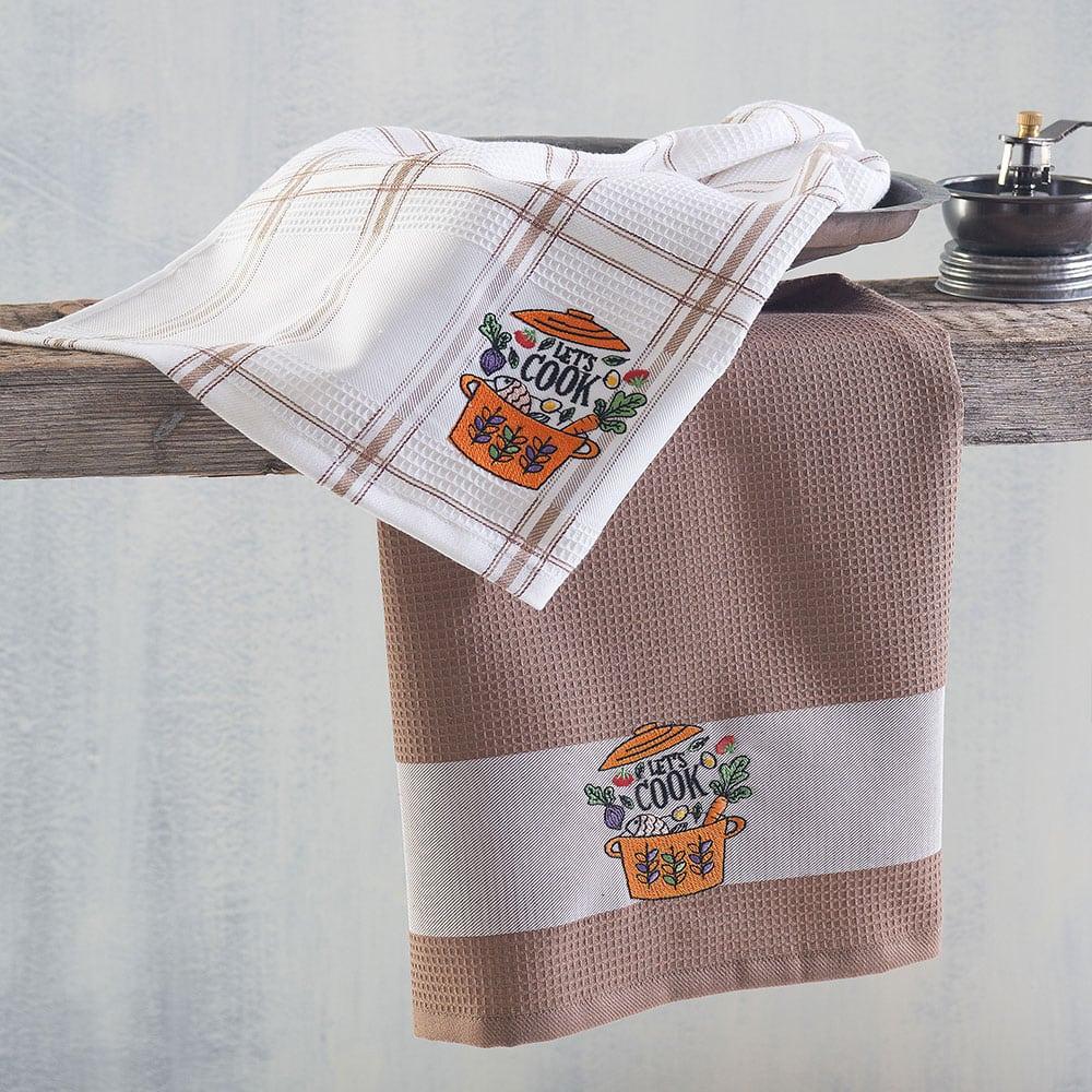Πετσέτες Κουζίνας Πικέ Let's Cook Σετ 2τμχ Brown Ρυθμός