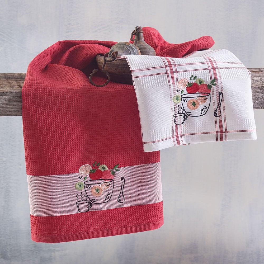 Πετσέτες Κουζίνας Πικέ Tomato Bowl Σετ 2τμχ Red Ρυθμός
