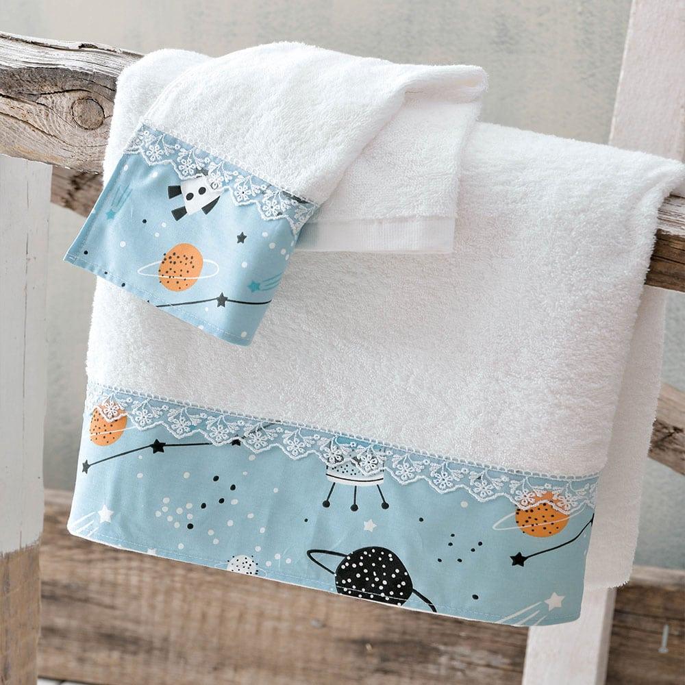 Πετσέτες Παιδικές Σετ 2τμχ Astroworld White-Ciel Ρυθμός Σετ Πετσέτες