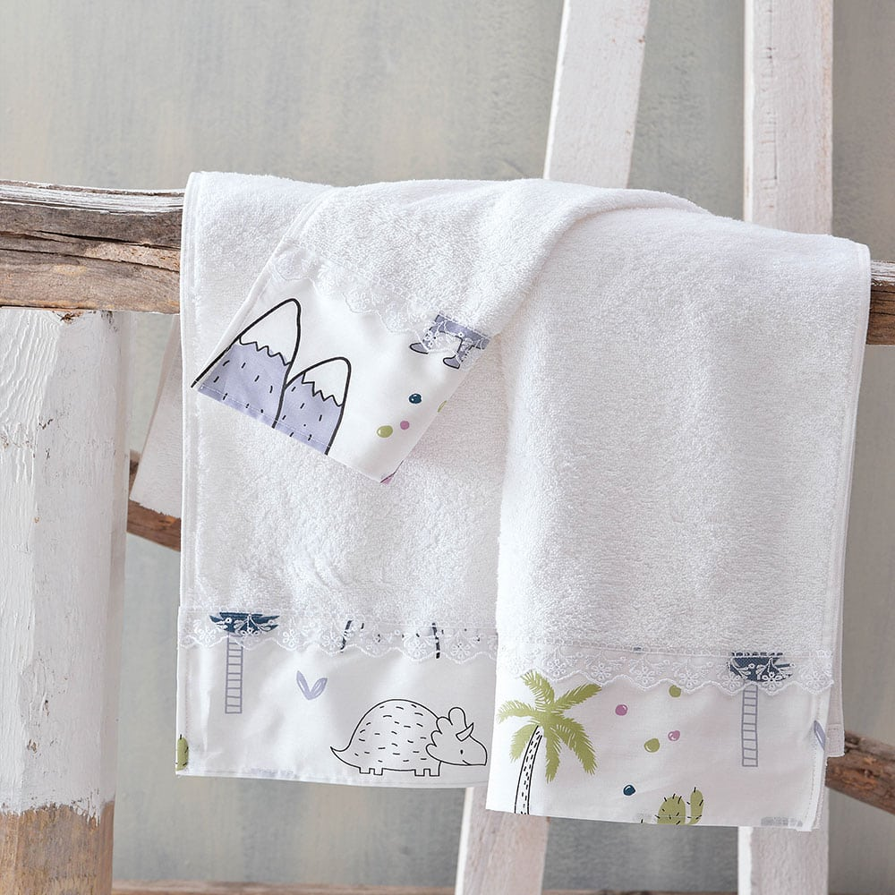 Πετσέτες Παιδικές Σετ 2τμχ Dinofriends White Ρυθμός Σετ Πετσέτες