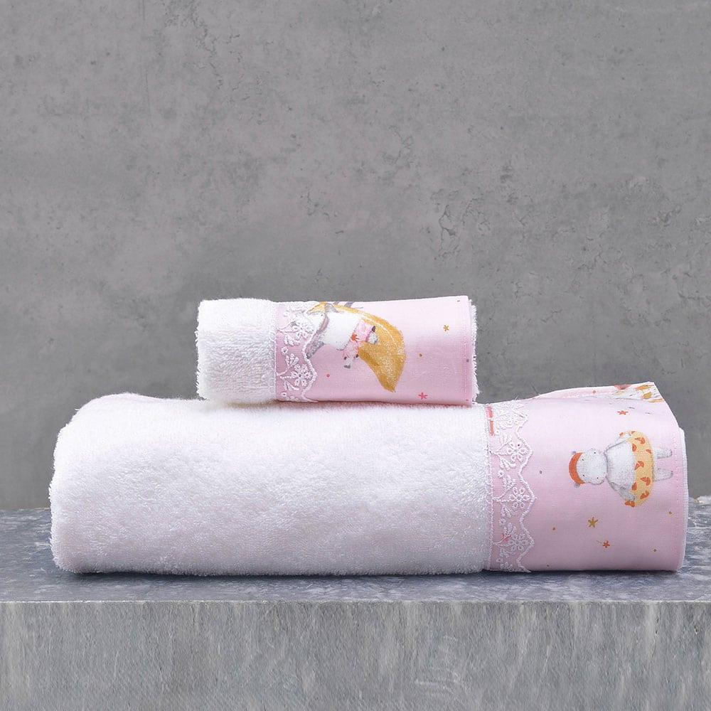 Πετσέτες Παιδικές Σετ 2τμχ Hippo Pink Ρυθμός Σετ Πετσέτες
