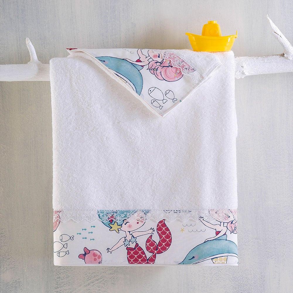 Πετσέτες Παιδικές Σετ 2τμχ Mermaid White-Multi Ρυθμός Σετ Πετσέτες