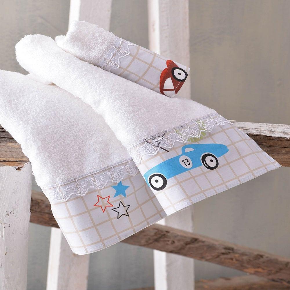 Πετσέτες Παιδικές Σετ 2τμχ Nascar White-Multi Ρυθμός Σετ Πετσέτες