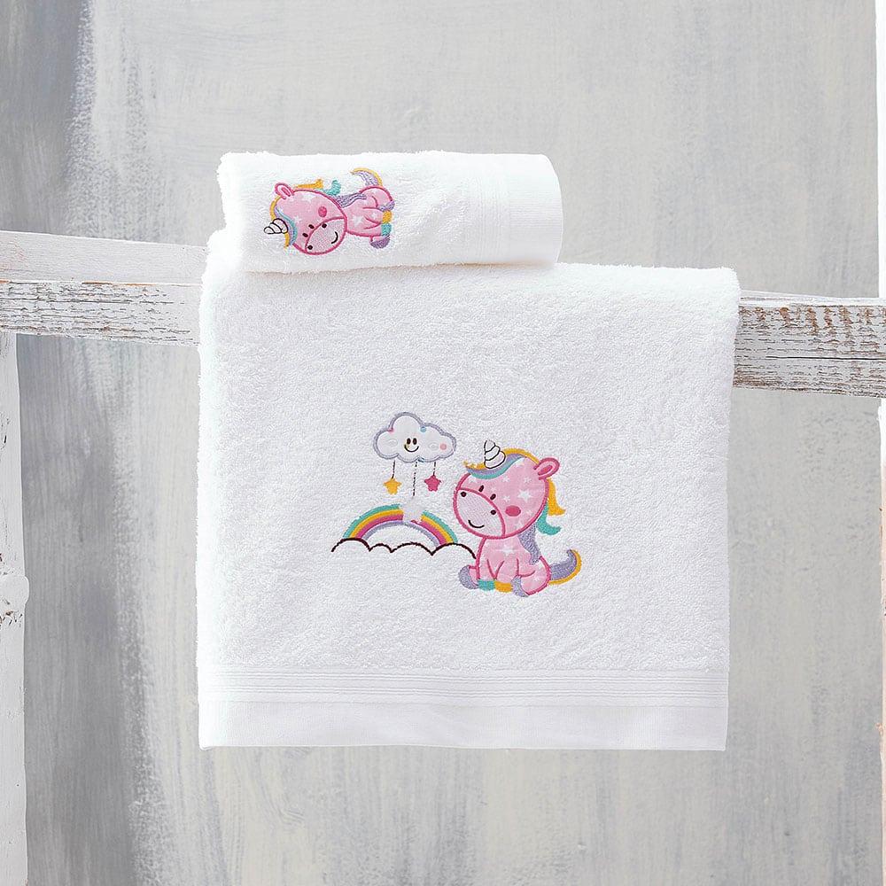 Πετσέτες Παιδικές Σετ 2τμχ Monokero White-Pink Ρυθμός Σετ Πετσέτες