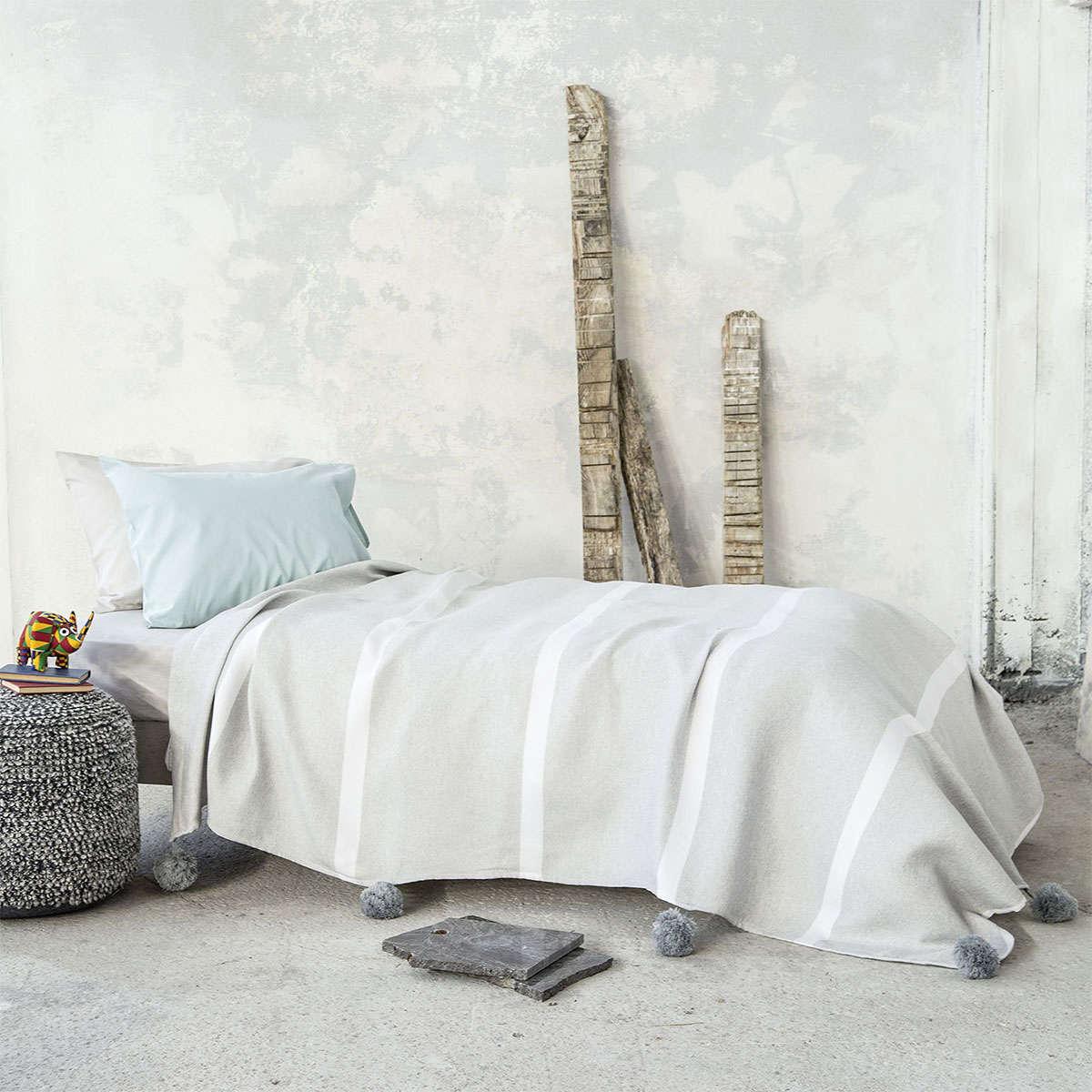 Κουβέρτα Παιδική Με Pom Pom – Meccano Grey Nima Μονό 155x240cm