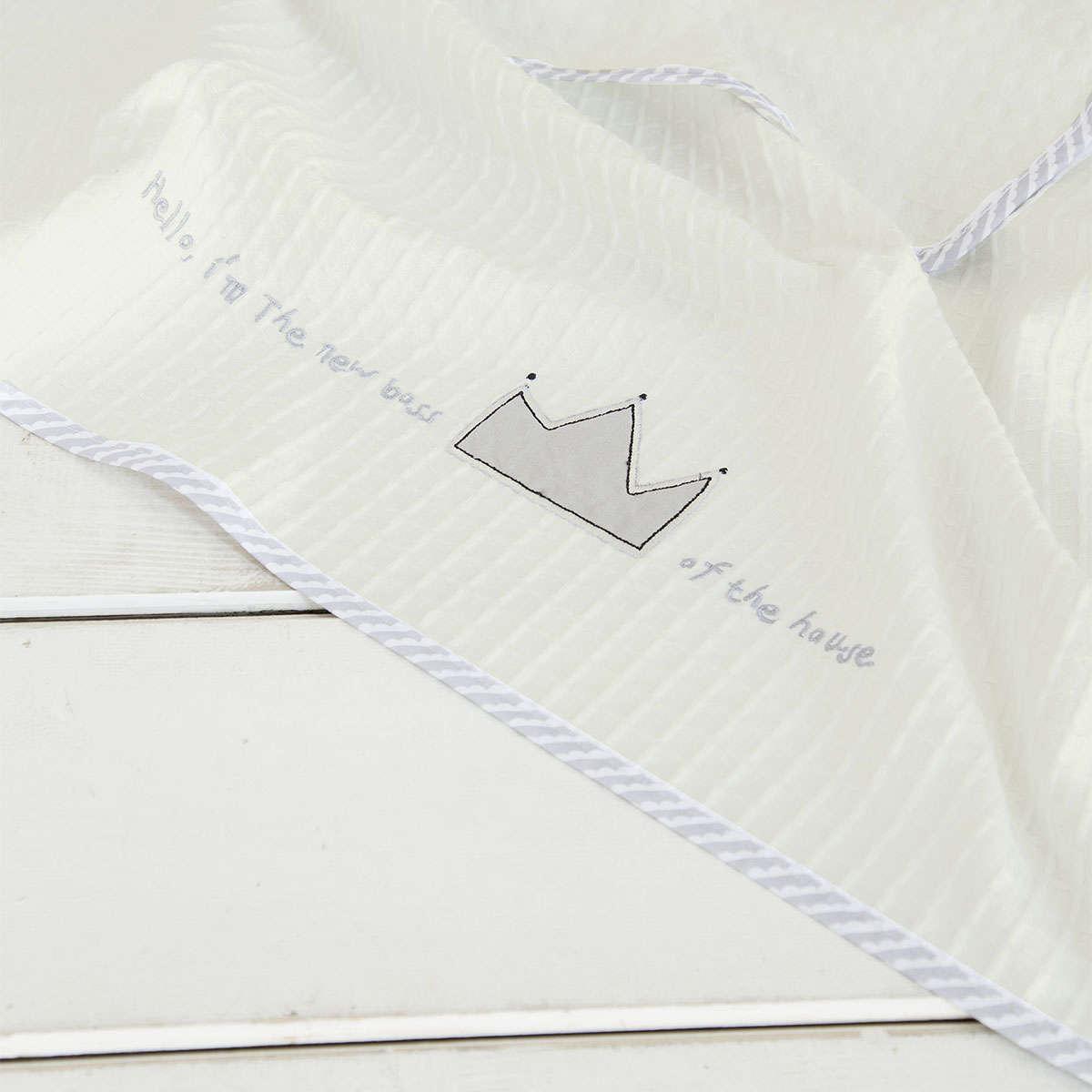 Κουβέρτα Βρεφική Πικέ- Baby Boss Ecru-Grey Nima Κούνιας 110x140cm