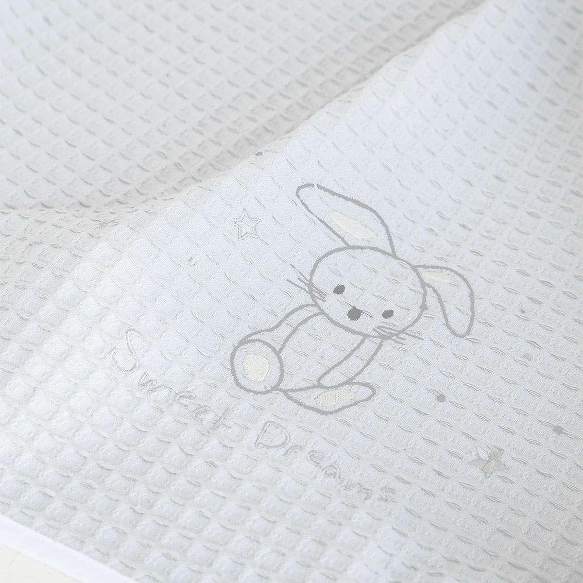 Κουβέρτα Βρεφική Πικέ- Baby Bunny Light Grey Nima ΑΓΚΑΛΙΑΣ 80x110cm