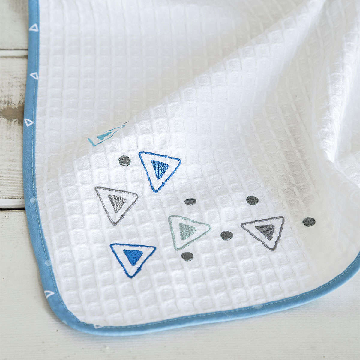 Κουβέρτα Βρεφική Πικέ- Blob White-Blue Nima Κούνιας 110x140cm