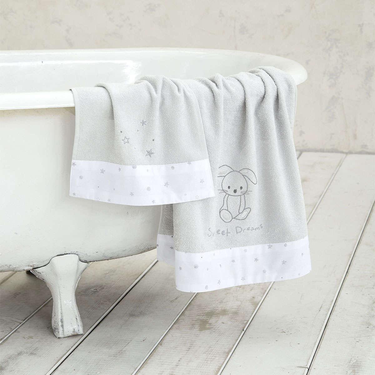 Πετσέτες Παιδικές Σετ – Baby Bunny Light Grey Nima Σετ Πετσέτες 70x140cm
