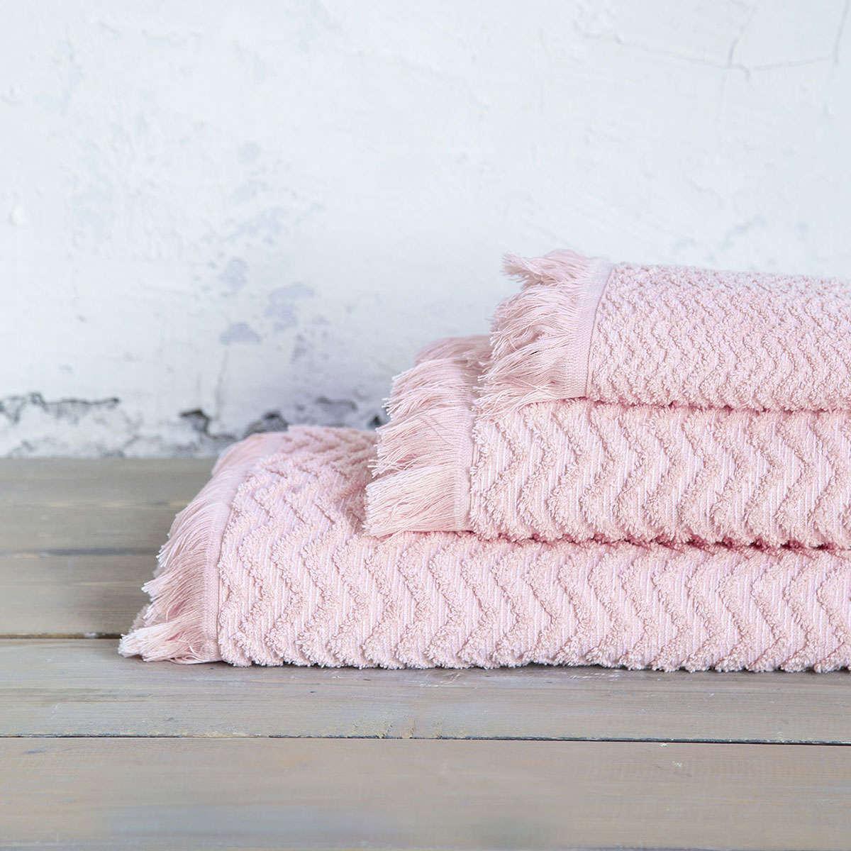 Πετσέτες Σετ 3τμχ. Contour Pink Nima Σετ Πετσέτες 70x140cm