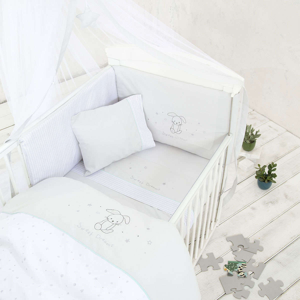 Σεντόνια Βρεφικά Σετ 3τμχ – Baby Bunny Light Grey Nima Κούνιας 120x170cm