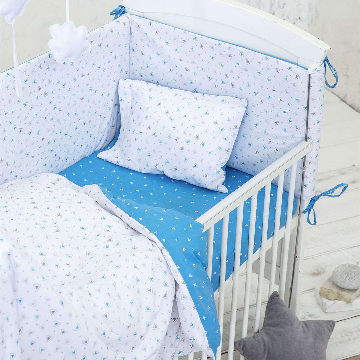 Σεντόνια Βρεφικά Σετ – Blob White-Blue Nima Κούνιας 120x170cm