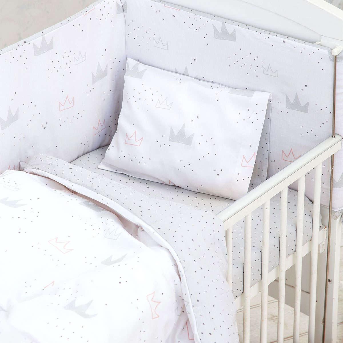 Σεντόνια Βρεφικά Σετ 3τμχ – Majesty White-Grey-Pink Nima Κούνιας 120x170cm