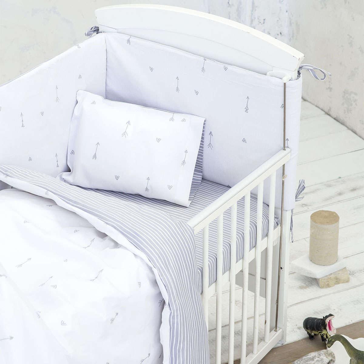 Σεντόνια Βρεφικά Σετ 3τμχ – Mojo Light Grey Nima Κούνιας 120x170cm