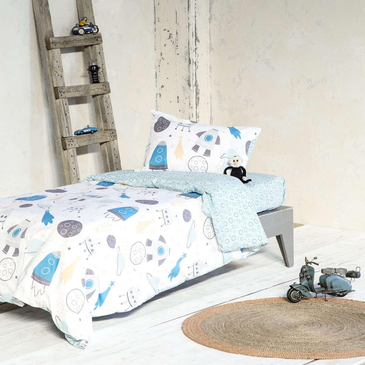 Σεντόνια Παιδικά Σετ 3τμχ Με Λάστιχο – Fleeky White-Blue Nima Μονό