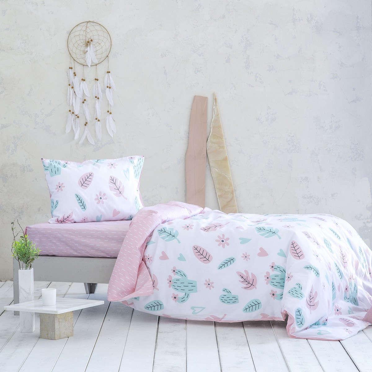 Σεντόνια Παιδικά Σετ 3τμχ Με Λάστιχο – Flower Cactus Pink-Green Nima Μονό