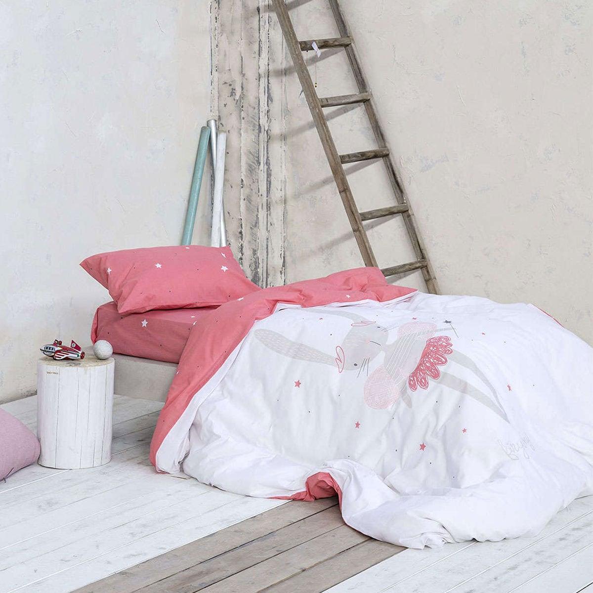 Σεντόνια Παιδικά Σετ 3τμχ Fairy Bunny White-Pink Nima Μονό 170x255cm