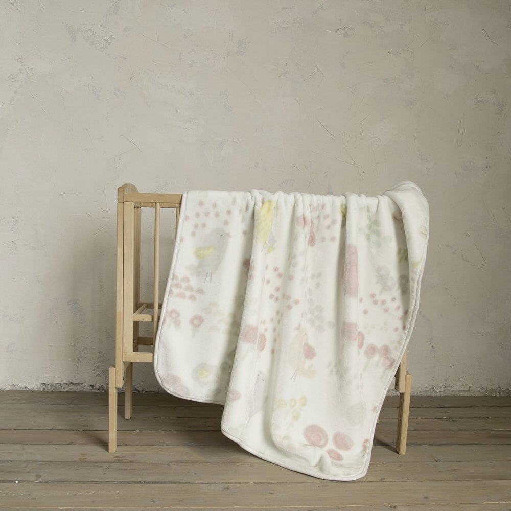 Κουβέρτα Βρεφική Βελουτέ Cuckoo Ecru-Pink Nima Κούνιας 110x140cm