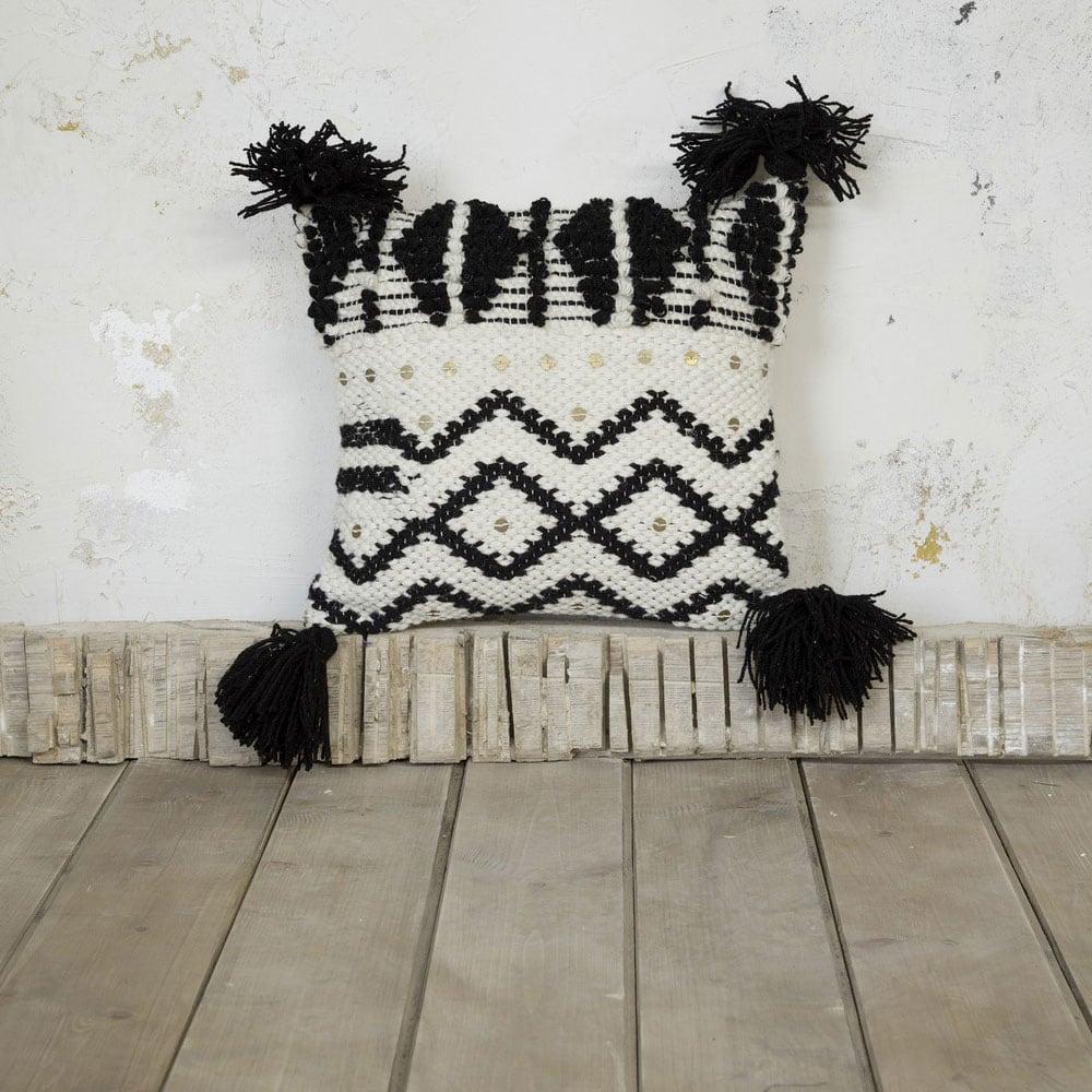 Μαξιλάρι Διακοσμητικό (Με Γέμιση) – Erode Ecru-Black Nima 45X45 100% Μαλλί