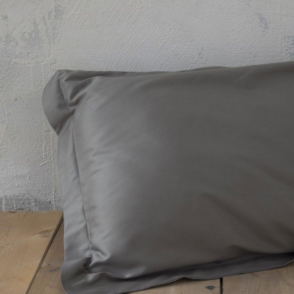 Μαξιλαροθήκες Σετ 2τμχ Oxford 3 Πλευρών Superior Dark Grey Nima 55X75
