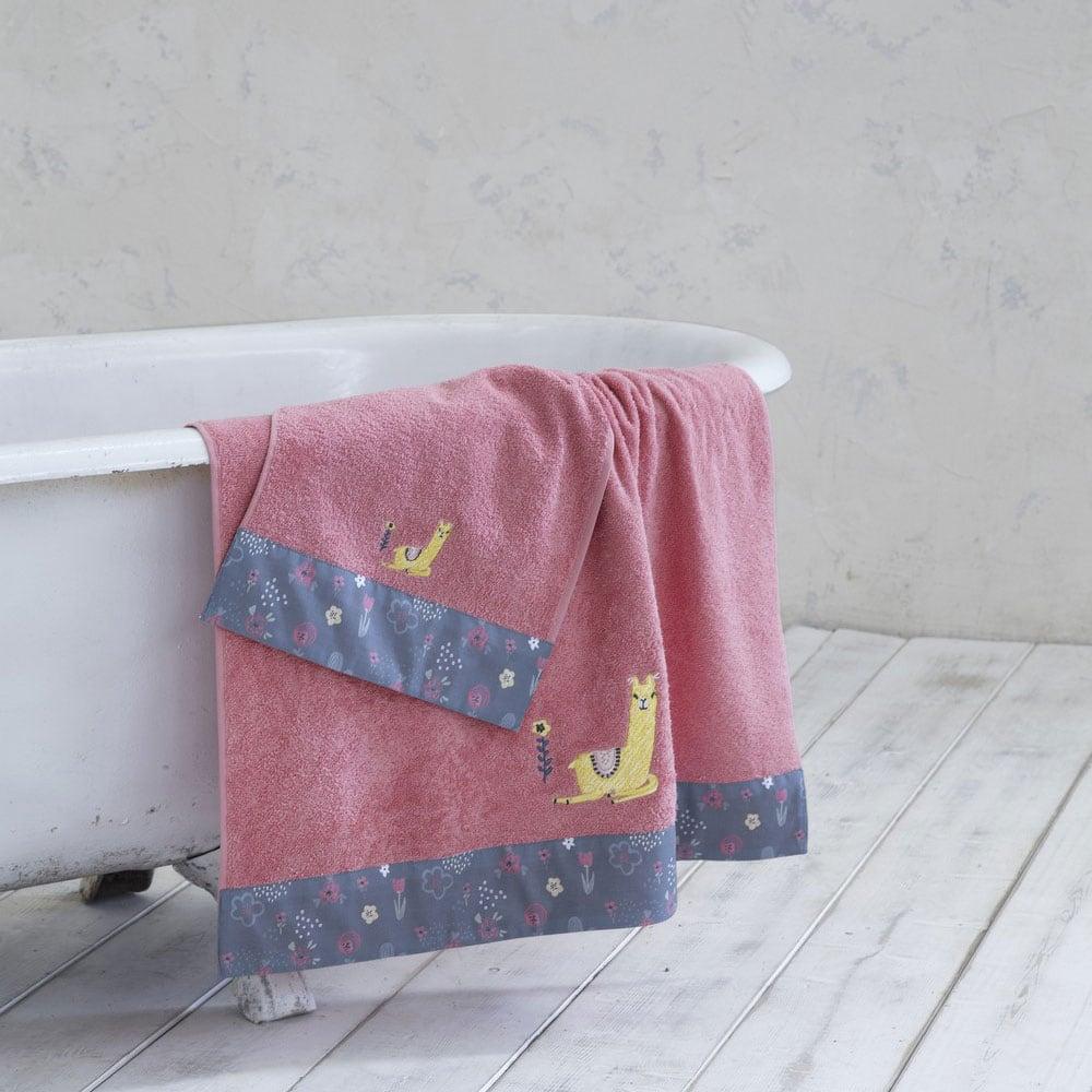 Πετσέτα Παιδική Llama Pink Nima Σώματος 70x140cm