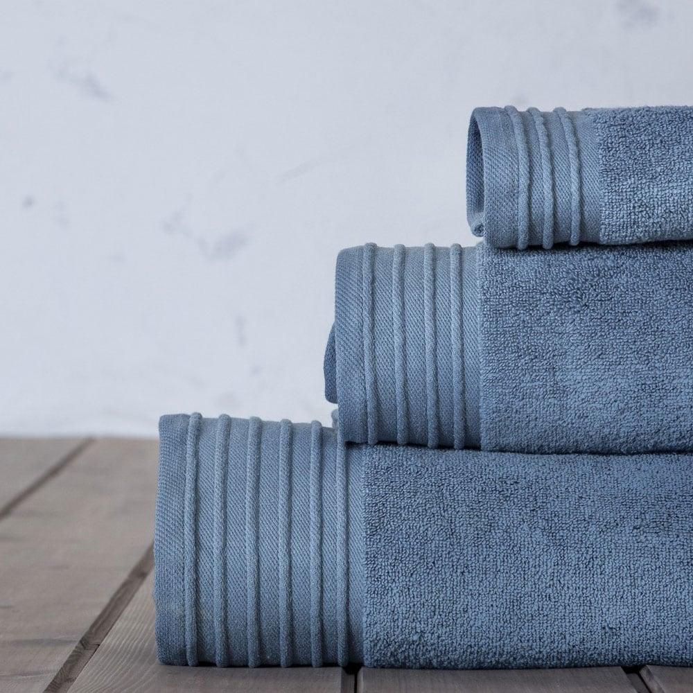 Πετσέτες Σετ 3τμχ. Feel Fresh Denim Blue Nima Σετ Πετσέτες