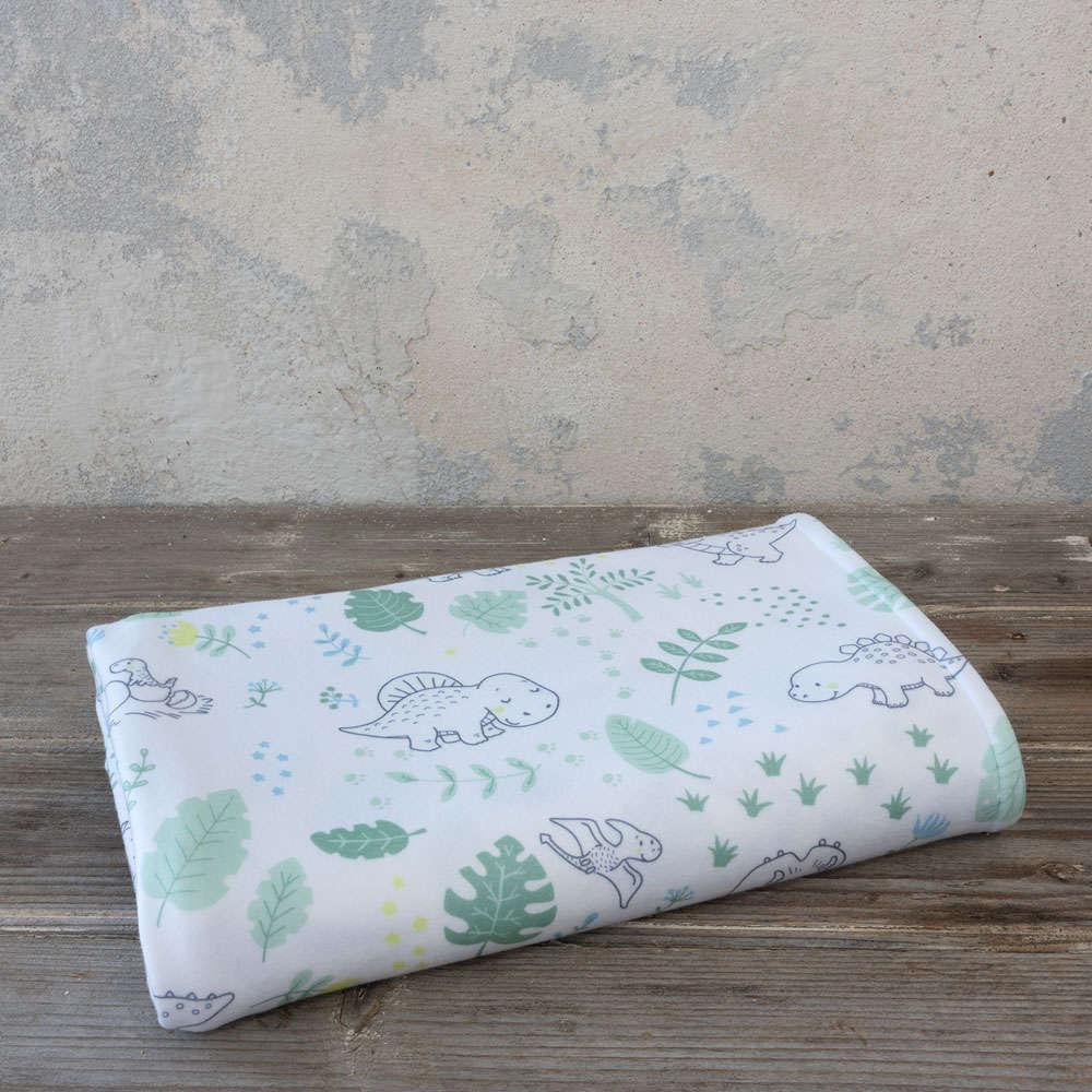 Κουβέρτα Βρεφική Βελουτέ 4 Εποχών Baby T-Rex White-Green Nima Κούνιας 110x140cm