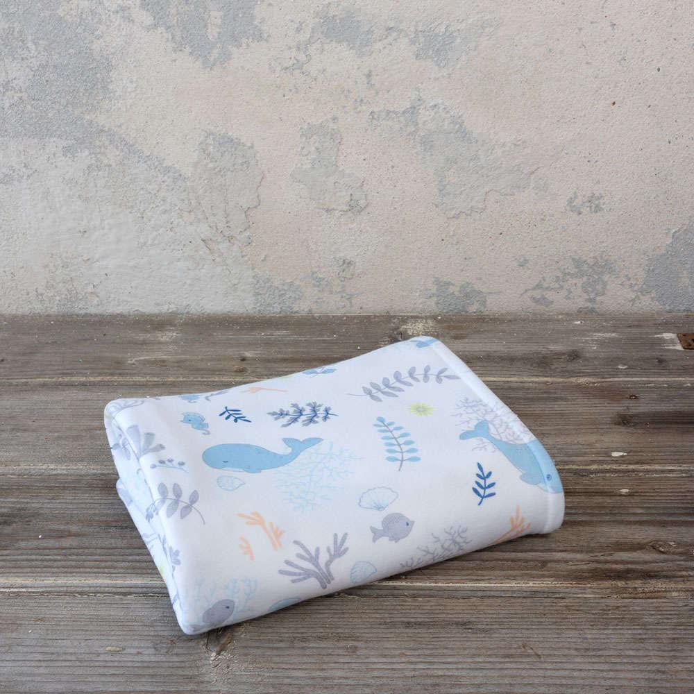 Κουβέρτα Βρεφική Βελουτέ 4 Εποχών Baleen White-Blue Nima Κούνιας 110x140cm