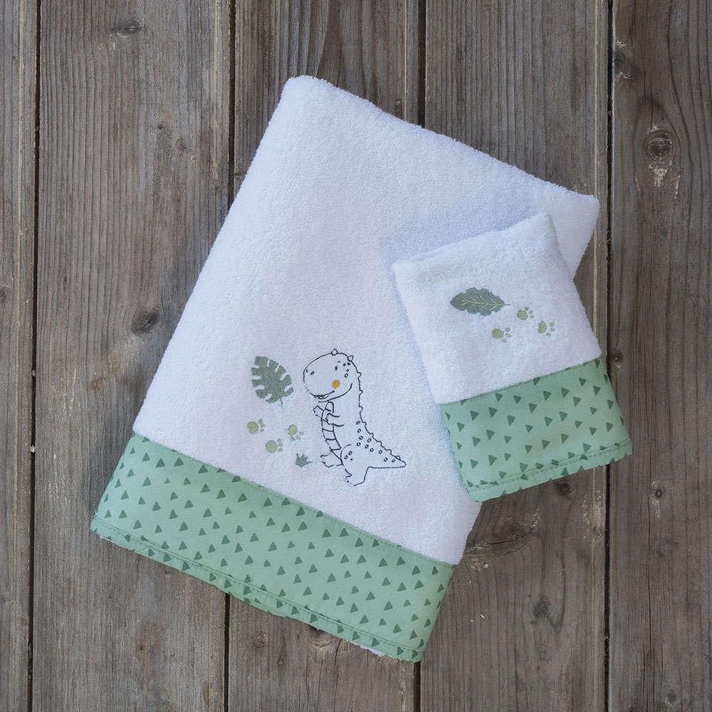 Πετσέτες Βρεφικές Σετ 2τμχ – Baby T-Rex White-Green Nima Σετ Πετσέτες