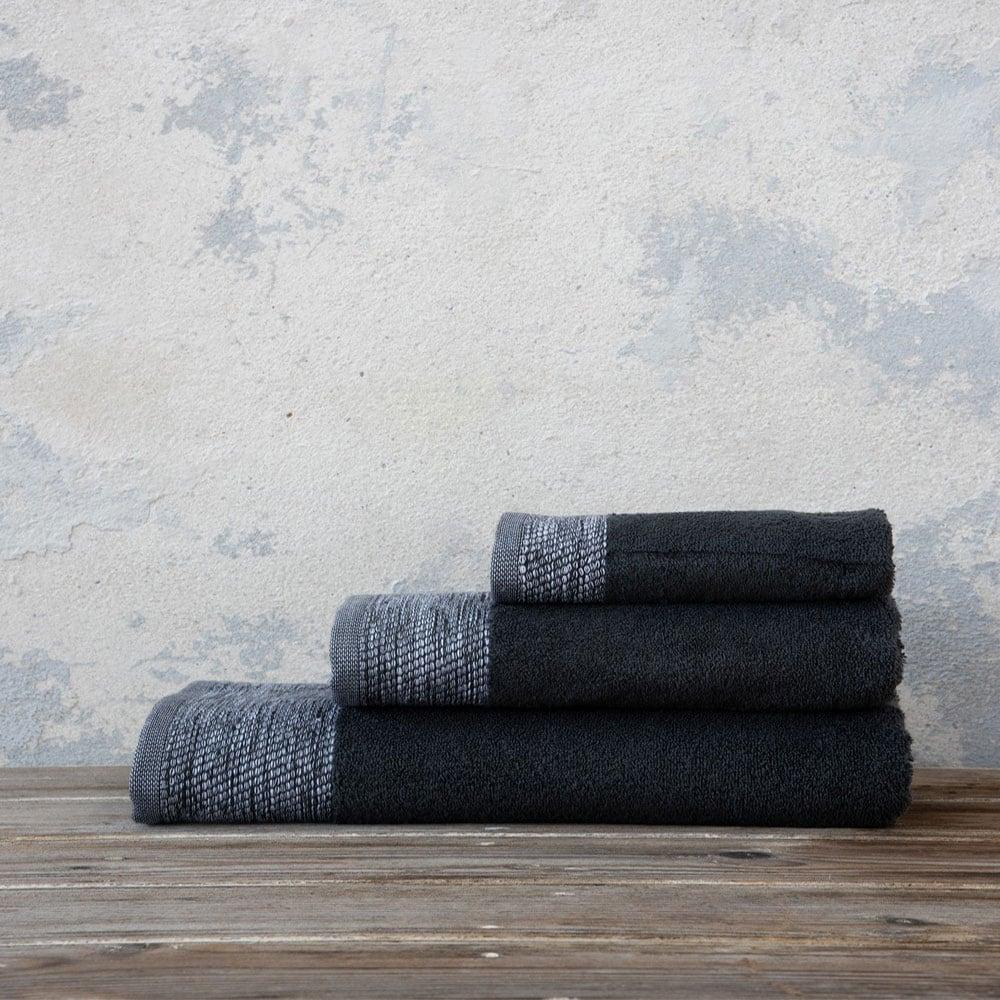 Πετσέτες Σετ 3τμχ Luzon Dark Gray Nima Σετ Πετσέτες