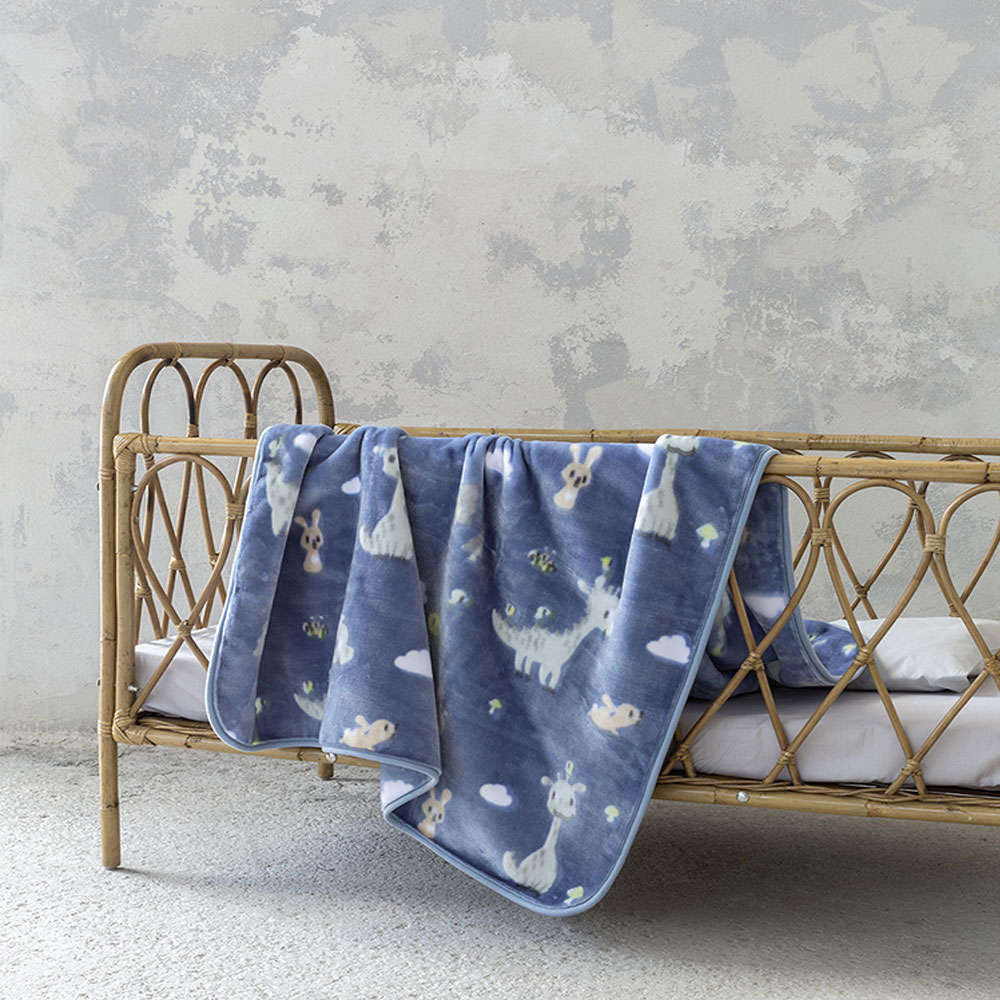 Κουβέρτα Βρεφική Βελουτέ – Baby Dragon Blue Nima Κούνιας 110x140cm