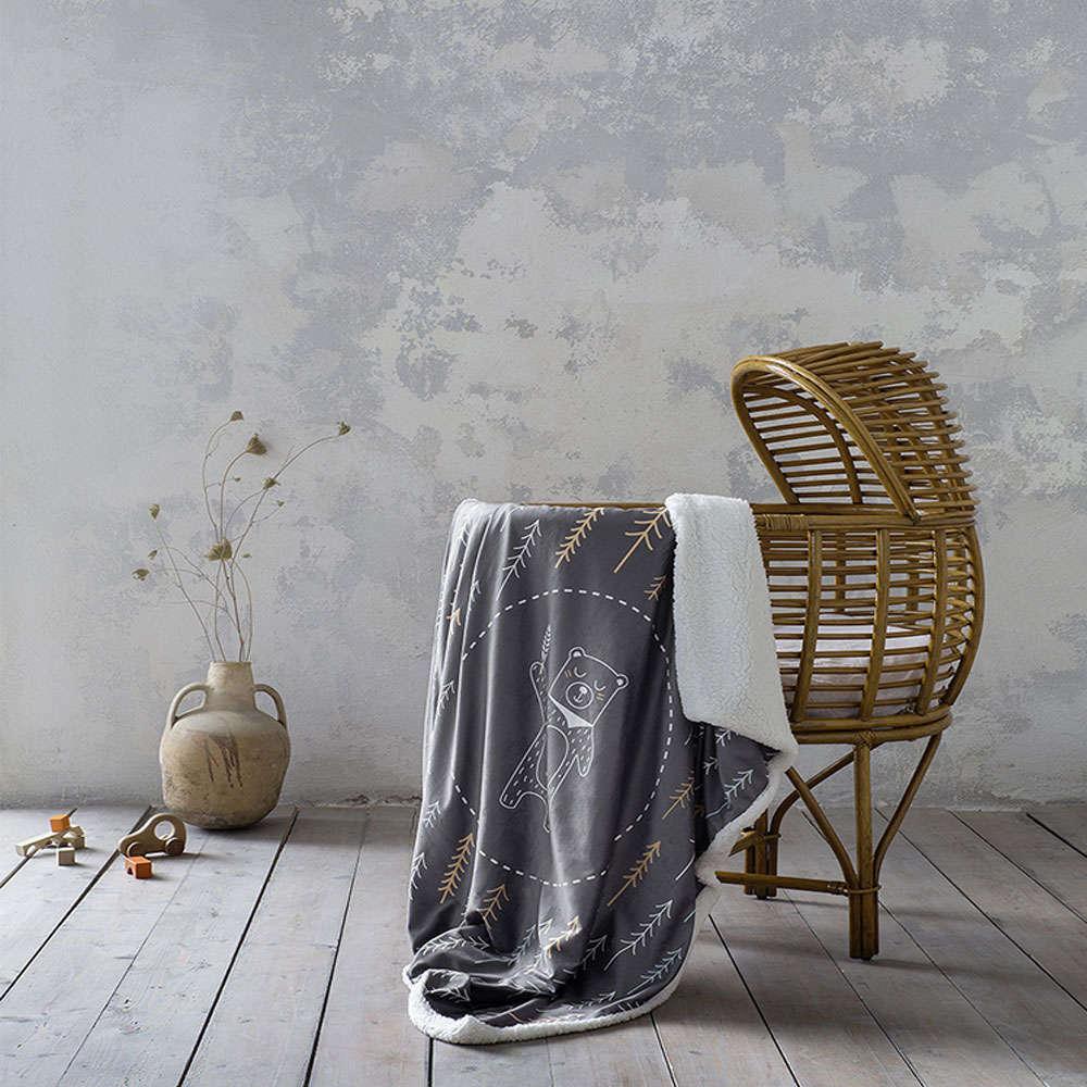 Κουβέρτα Βρεφική – Tiddles Dark Grey Nima Κούνιας 110x140cm