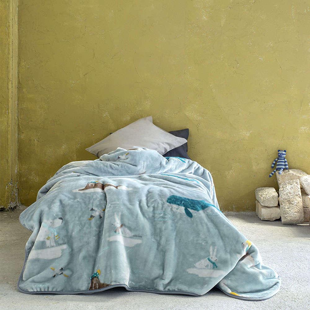 Κουβέρτα Παιδική Βελουτέ – Arctic Blue Nima Μονό 160x220cm