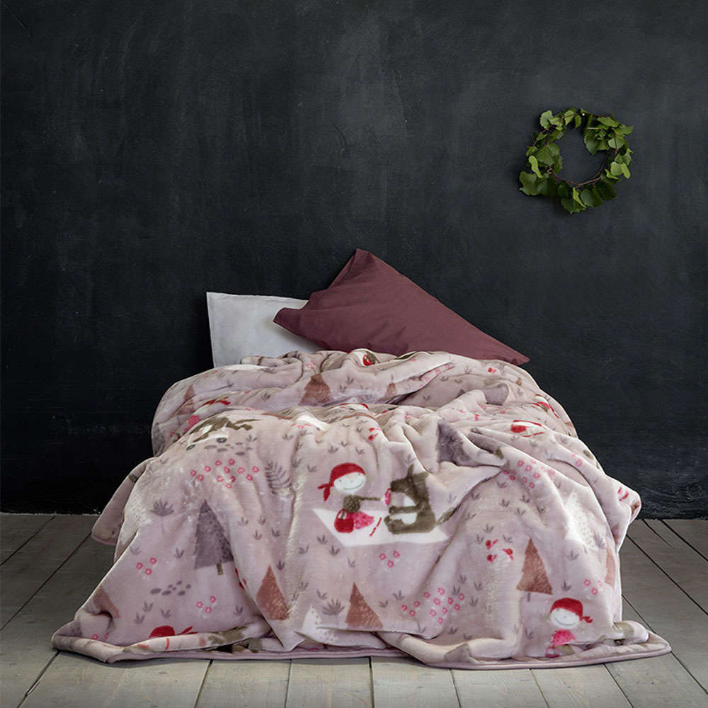 Κουβέρτα Παιδική Βελουτέ – Little Red Riding Hood Pink Nima Μονό 160x220cm