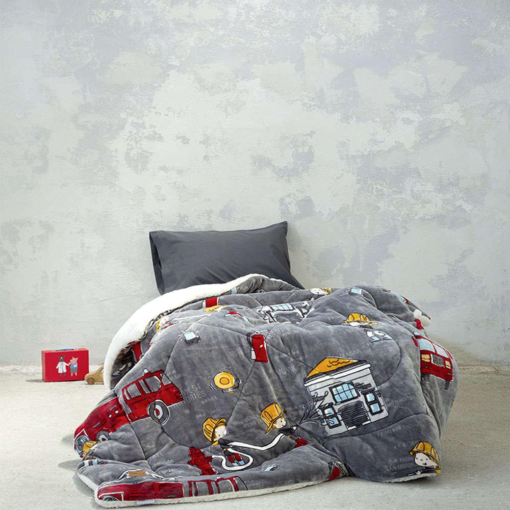 Κουβερτοπάπλωμα Παιδικό – Bombero Grey Nima Μονό 150x220cm