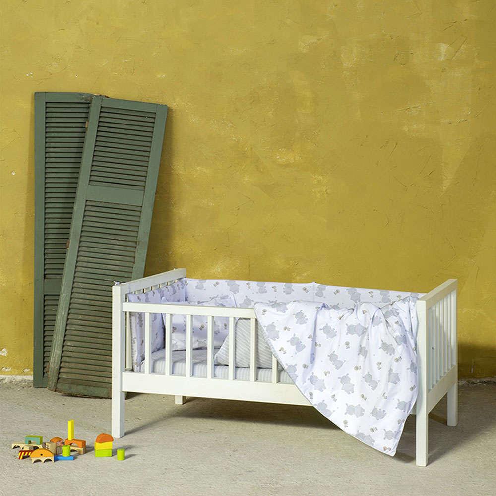 Παπλωματοθήκη Βρεφική Σετ 2τμχ – Hippo Baby White-Grey Nima 110x145cm