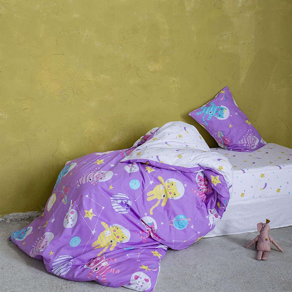 Παπλωματοθήκη Παιδική Σετ 2τμχ – Cosmic Kittens Purple Nima Μονό 160x240cm