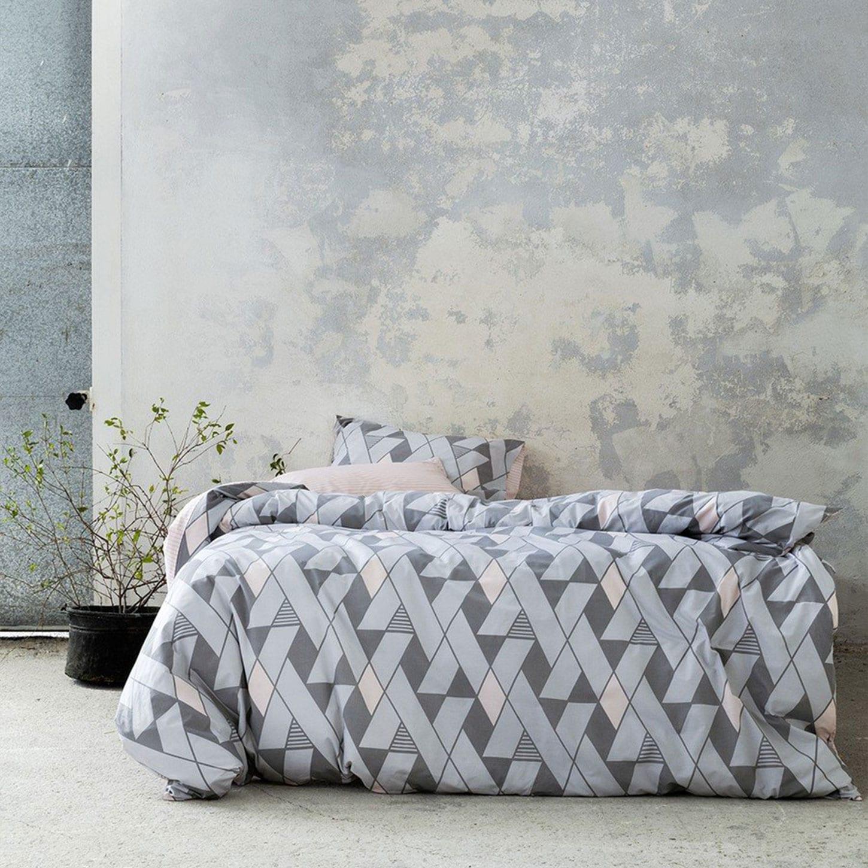 Παπλωματοθήκη Σετ 2τμχ – Jazzy Grey-Pink Nima Μονό 160x240cm