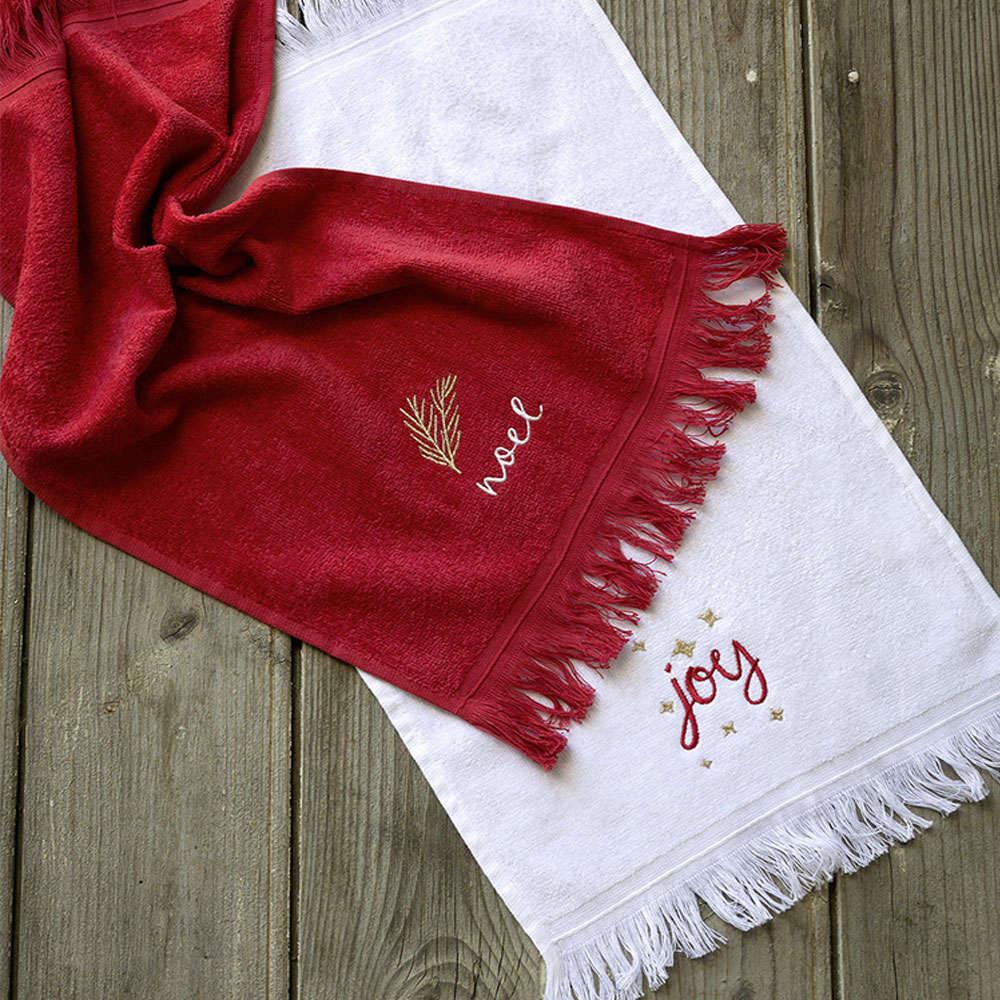 Πετσέτες Χριστουγεννιάτικες Σετ 2τμχ – Joy Red-White Nima Σετ Πετσέτες 30x50cm