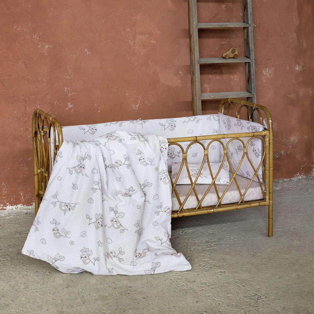 Κουβερλί Βρεφικό – Sloppy White-Grey Nima Κούνιας 100x140cm