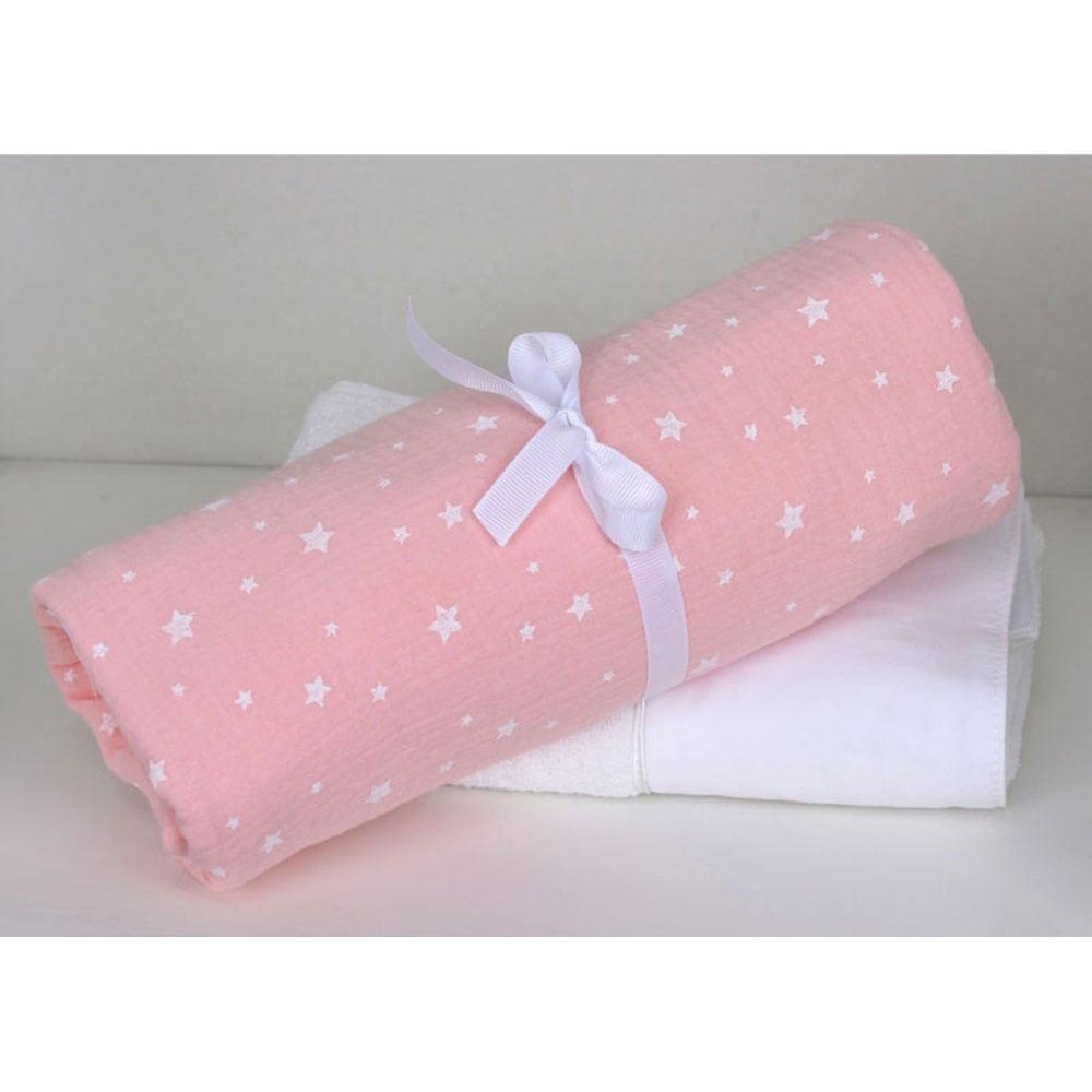 Πάνα Βρεφική Μουσελίνα Σχ. 372 Muslin Pink Baby Oliver 80x80cm