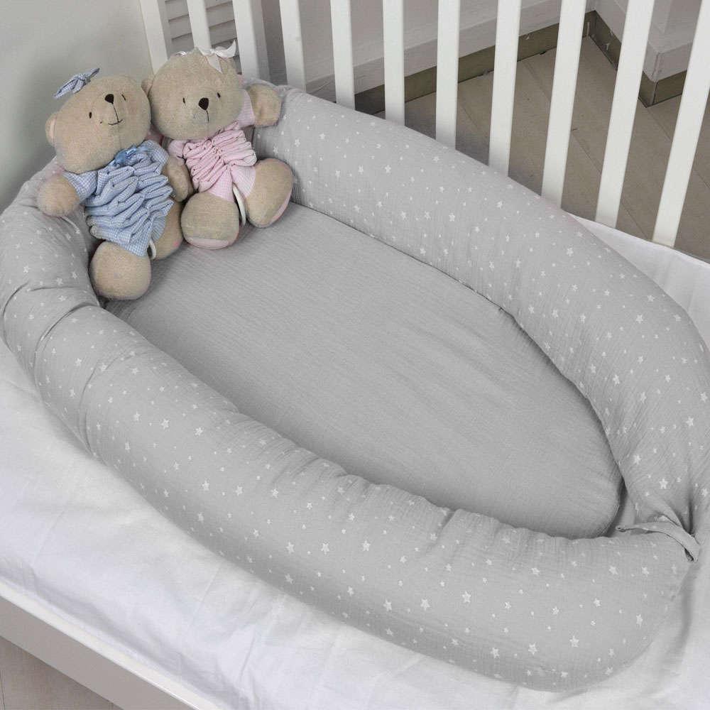 Φωλιά Βρεφική Διπλής Όψης Σχ. 370 Muslin Grey Baby Oliver 55x95cm